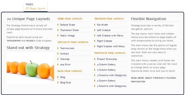 Page Layout Menu
